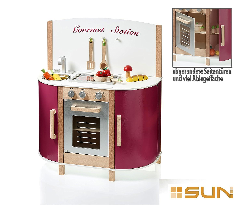 Sun Spielküche aus Holz für Kinder Zubehör Kinderküche Gourmet