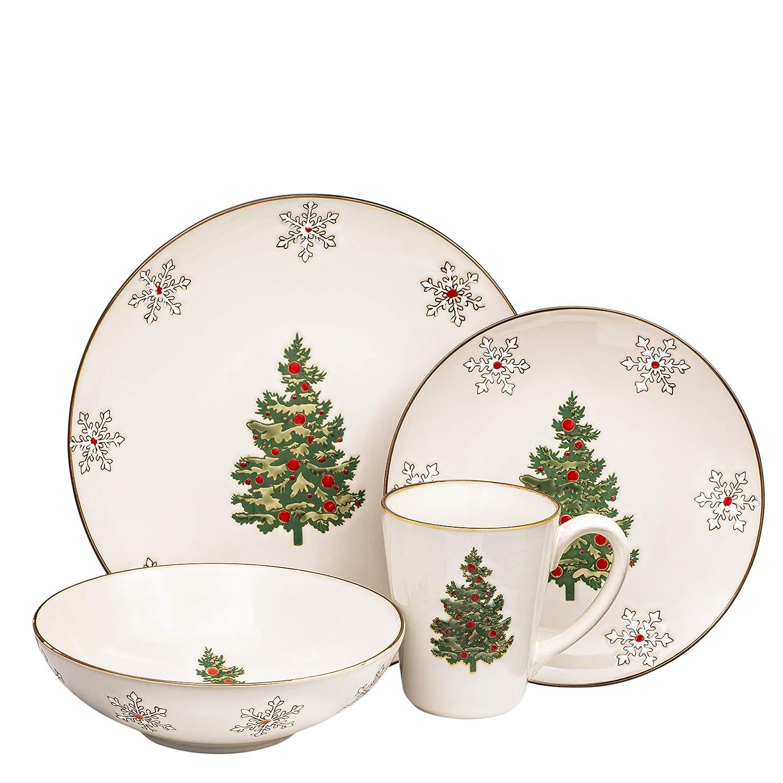 Christmas Dinnerware.Christmas Ceramic Dinnerware Set Dinner Plates Bowls Mugs 4 Piece Classic Service For 1
