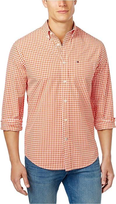 a05a681ca Tommy Hilfiger Men's Long-Sleeve Twain Check Classic Fit Shirt Orange Size  3XL: Amazon.co.uk: Clothing