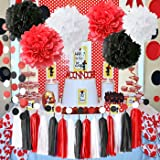 Minnie Mouse Party Supplies White Black Red Baby Ladybug Birthday Party Decorations/ First Birthday Girl Decorations Tissue Paper Pom Pom Tassel Garland Baby Shower Decorations