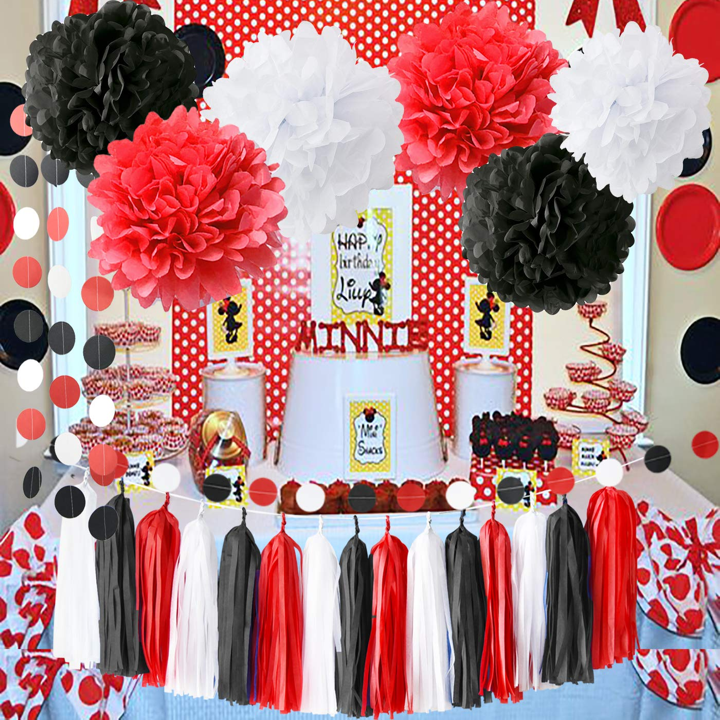 Minnie Mouse Party Supplies White Black Red Baby Ladybug Birthday Party Decorations First Birthday Girl Decorations Tissue Paper Pom Pom Tassel