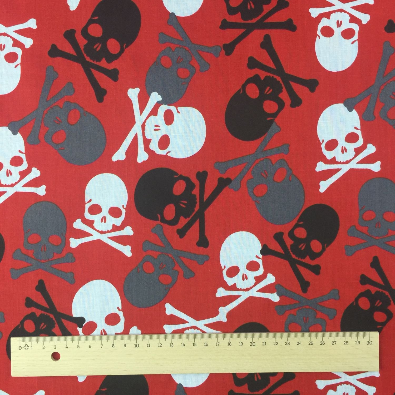 Skulls Red Black Polycotton Fabric 112cm wide.FREE postage!
