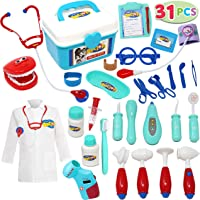 JOYIN Kids Doctor Kit 31 Pieces Pretend-n-Play Dentist Medical Kit with Electronic Stethoscope and Coat for Kids Holiday…