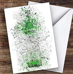 Watercolor Splatter French Frost Vodka Bottle Apple Green Birthday Greetings Card