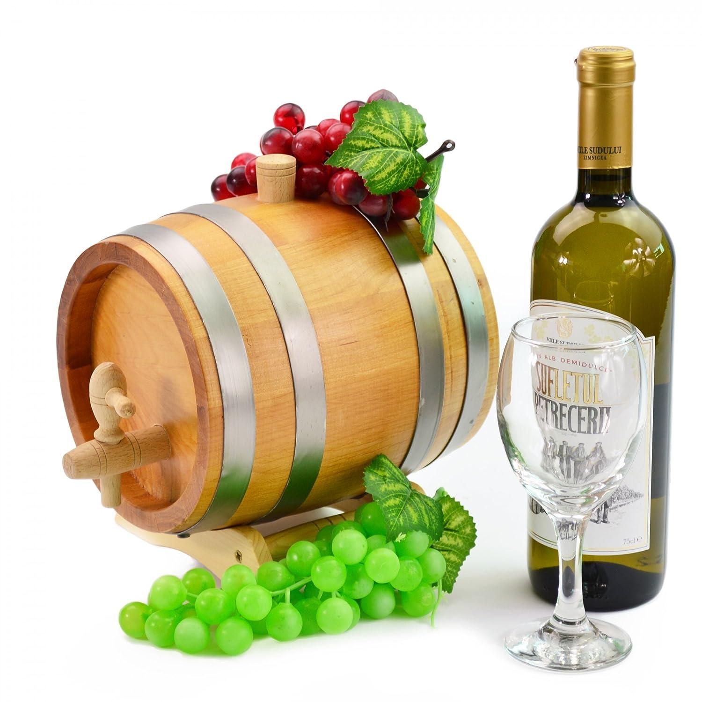 3 litros roble barril barril madera barril de madera grifo y lavabo de vino, cerveza, sidra, whisky etc.: Amazon.es: Hogar