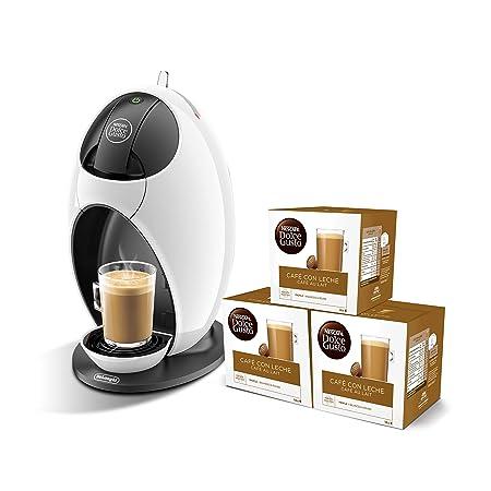 Pack DeLonghi Dolce Gusto Jovia EDG250.W - Cafetera de cápsulas, 15 bares de presión, color blanco + 3 packs de café Dolce Gusto Con Leche