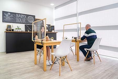 Bi-Office Mampara Vidrio Templado con Pinzas Marco Madera en Natural 22mm, 90 x 60 cm: Amazon.es: Oficina y papelería