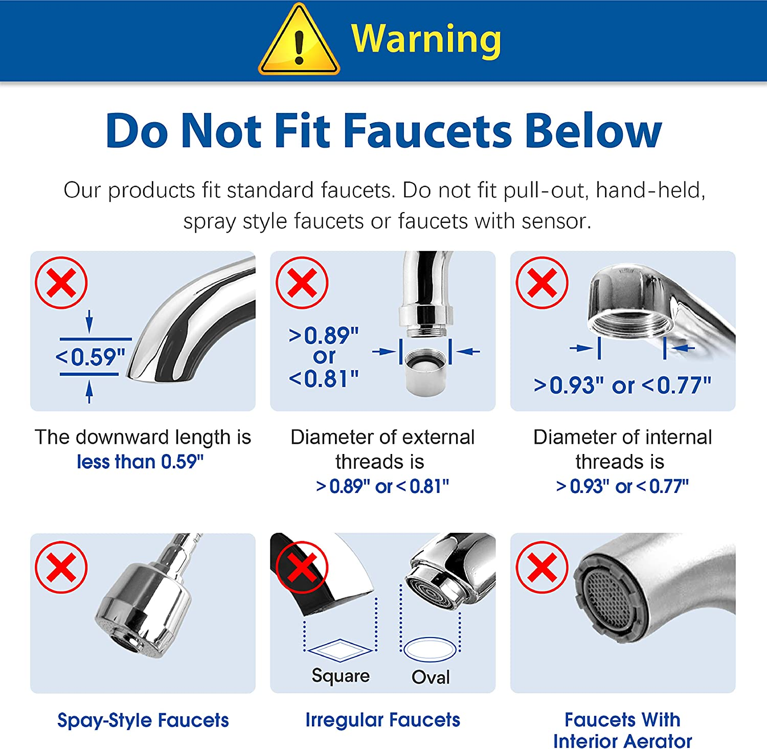 Waterdrop WD-FC-01 Faucet Mount Water Filter - Not compatible faucets