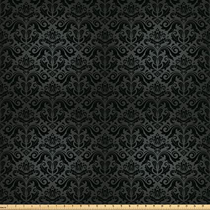 1d76a26047 Ambesonne Dark Grey Fabric by The Yard, Black Damask Arabesque and Floral  Elements Oriental Antique
