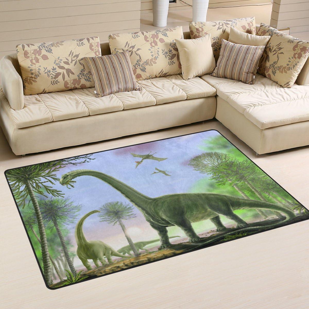 Mnsruu Tapis antid/érapant pour Chambre denfant Motif Dinosaure 1.7 x 2.6 ft Tissu Multicolore 50 x 80 cm