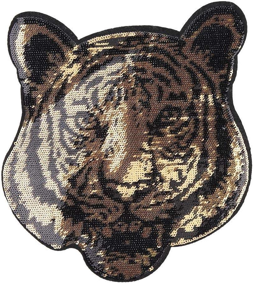 Tiger Head Pegatinas de tela, DIY Gran forma de tigre Ropa Bordado ...