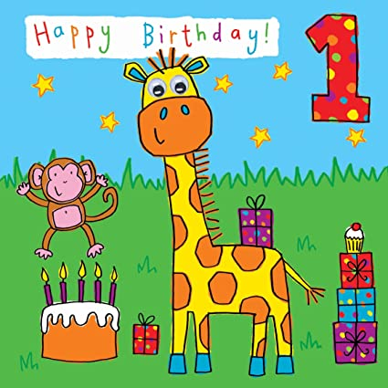 Twizler 1st Birthday Card For Child With Giraffe And Monkey One Year Old Age