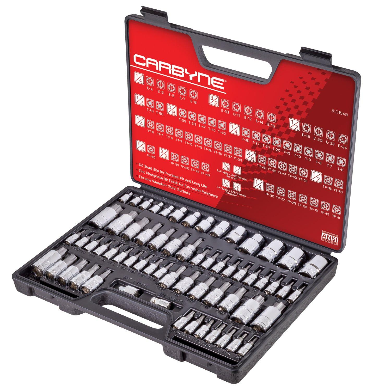 CARBYNE 62 Pc Master Torx Bit Socket Set & Torx External Socket Set, S2 Steel Bits | 1/4-inch, 3/8-inch & 1/2-inch Drive