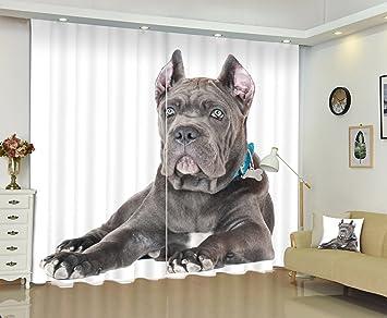 LB Poliéster Cortinas opacas-- Un perro gris negro Blanco impresión 3D efecto Reducción de ruido cortina de ventana para habitacion salon dormitorio: ...