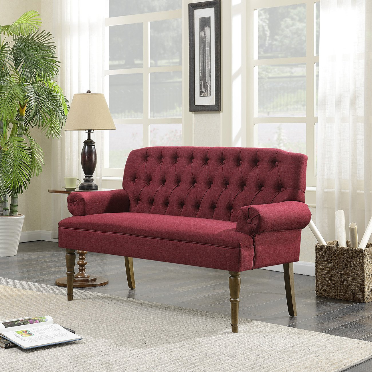Belleze Mid-Century Upholstered Wood Legs, Vintage Sofa Settee Bench with Linen Fabric Button Tufted, Burgundy by Belleze