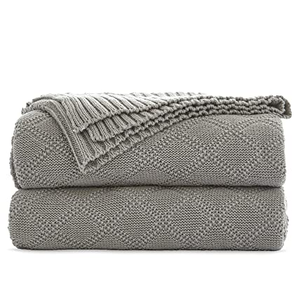 9b11477a6 Cable Knit Cotton Gray Throw Blanket for Couch Sofa Beach Chair Bed Home  Decorative Soft Warm