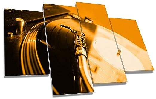 Naranja de DJ giradiscos Technics lienzo ktrade 4 Panel de 110 cm ...