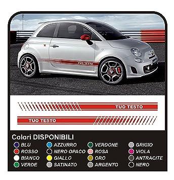 Adesivi per FIAT 500 ABARTH fasce FIAT 500 stradale KIT strisce laterali fascia (ANTRACITE)
