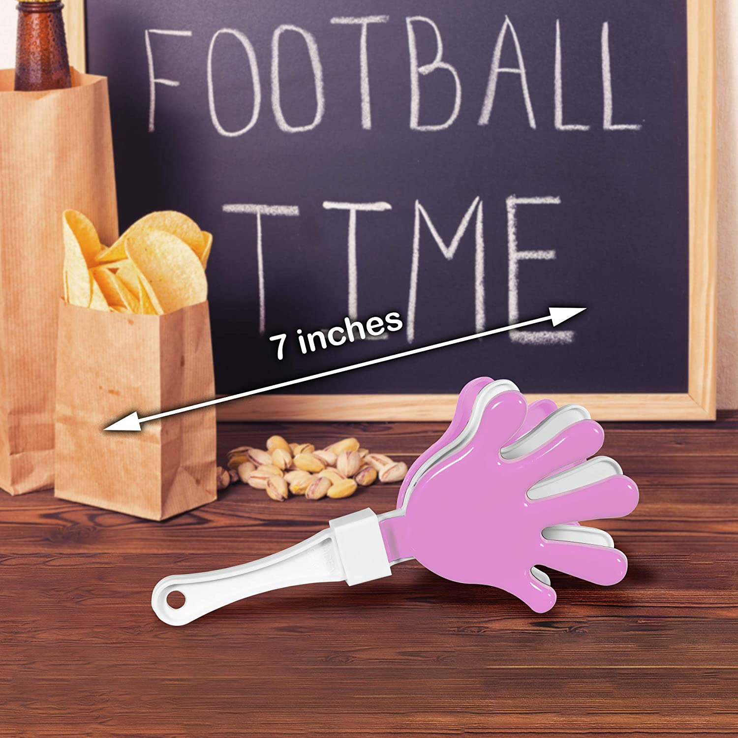 12 Pack Pink//White Hand Clapper Noise Makers Party Favors
