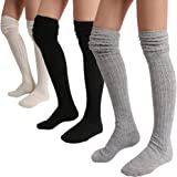 STYLEGAGA Winter Slouch Top Over The Knee High Knit Boot Socks