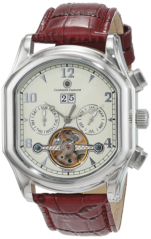Constantin Durmont Marshal - Reloj analógico de caballero automático con correa de piel marrón - sumergible a 30 metros