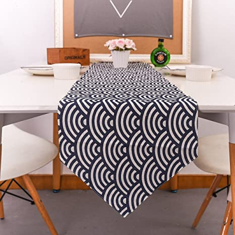 Amazon Com Uxart Handmade Japanese Style Ethnic Dining Table Runner 12 X 78 Jute Blue Ocean Waves Top Home Decoration Home Kitchen