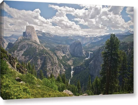 Amazon Com Artwall Yosemite Half Dome Vernal Falls And Nevada Falls Gallery Wrapped Canvas By Dan Wilson 32 By 48 Inch Posters Prints