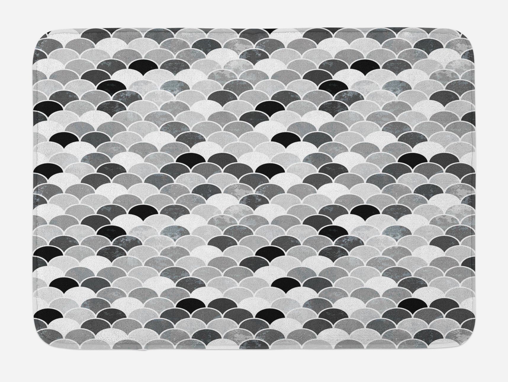 Ambesonne Fish Bath Mat, Squama Design with Aquatic Inspirations Animal Skin Scales Pattern Monochrome, Plush Bathroom Decor Mat with Non Slip Backing, 29.5 W X 17.5 W Inches, Black Grey White by Ambesonne