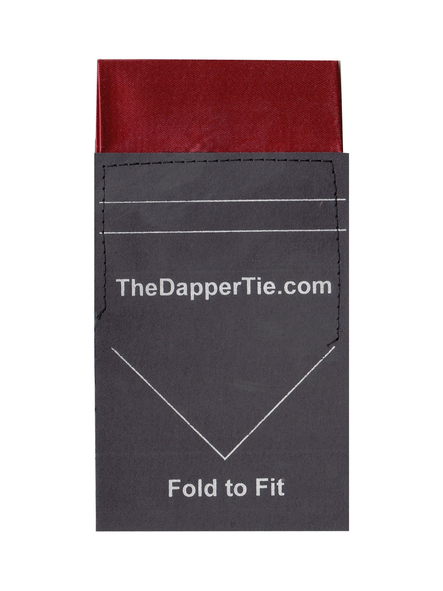 TheDapperTie - Men's Solid Flat Pre Folded Pocket Square on Card - Burgundy