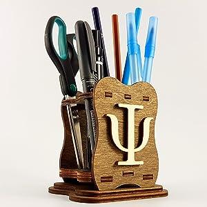 School Psychologist Gift - Wooden Pen Holder Psi Greek Letter Thank You Psychology Graduation Gift Office Decor Art