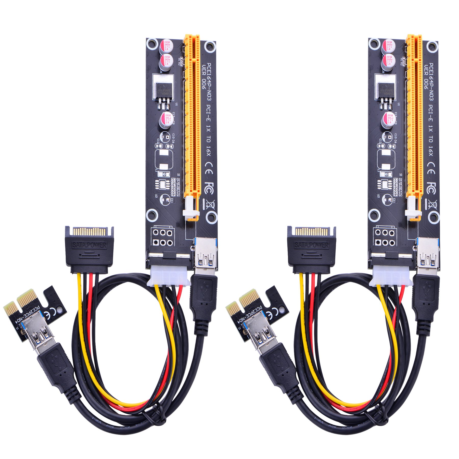 2 Pci-e Riser VER 006 Cripto mineria Con Cable Molex/SATA Op