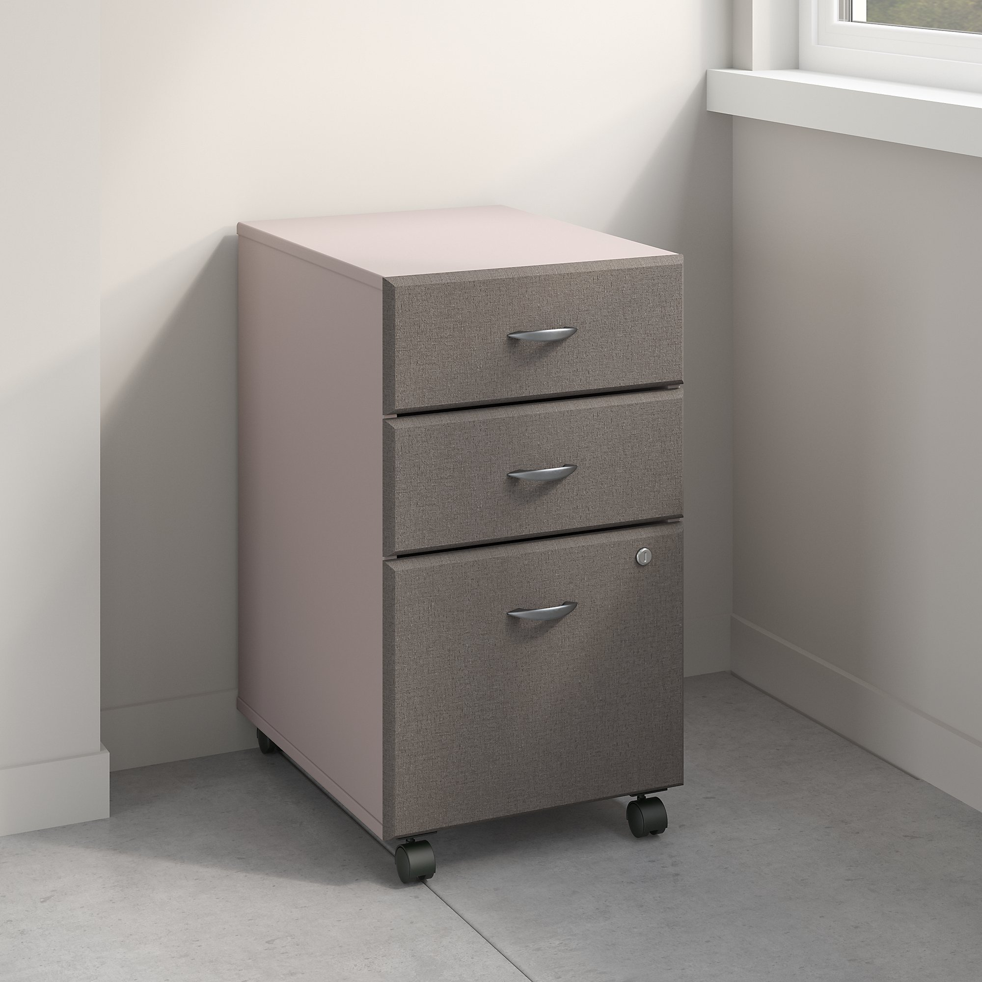 Bush Business Furniture WC14553PSU Series A 3 Drawer Mobile File Cabinet, Pewter by Bush Business Furniture