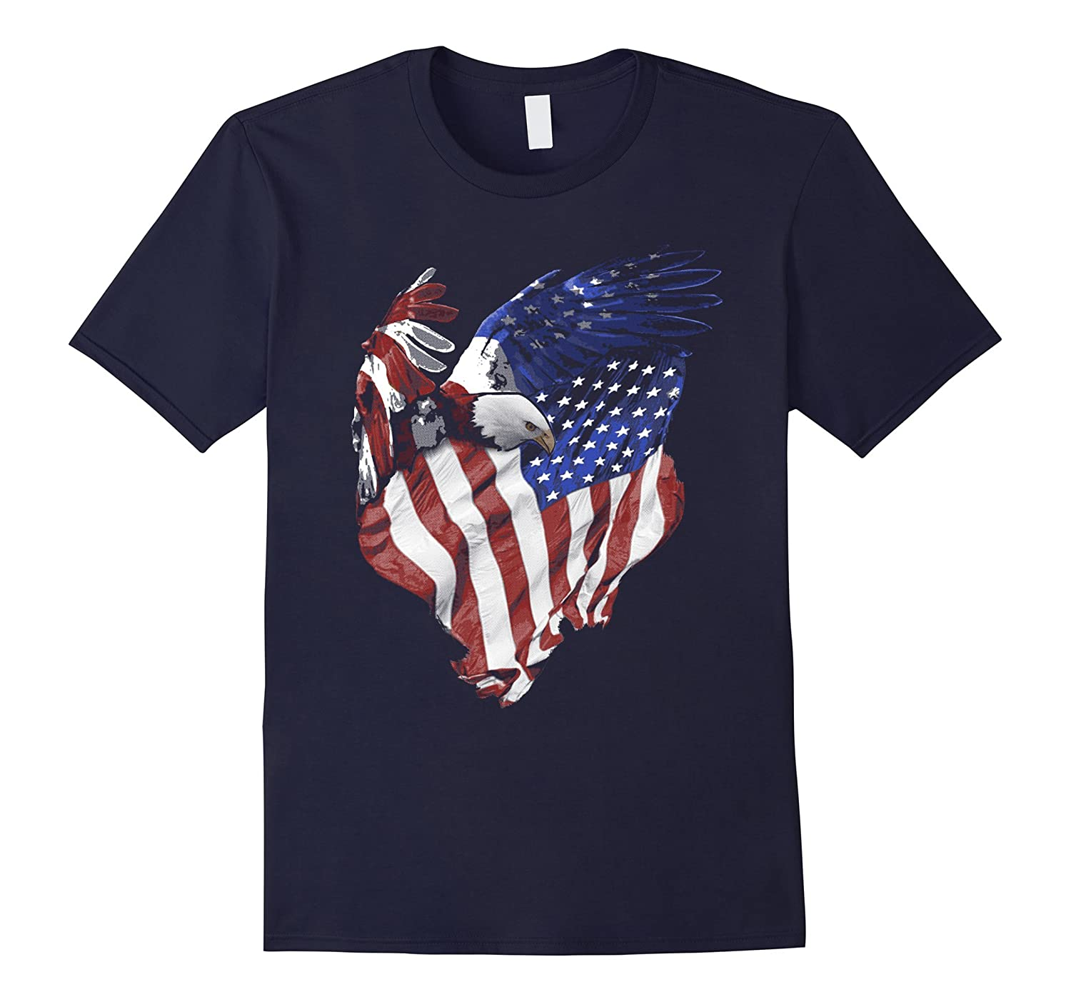 American Flag and Bald Eagle Patriotic T-Shirt-TD