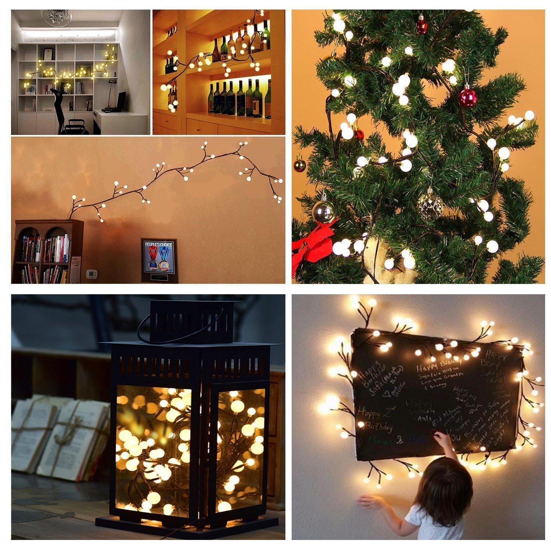 Safe 24V Rattan Globe String Lights 2.5m 72 Leds Indoor//Outdoor Xmas Tree