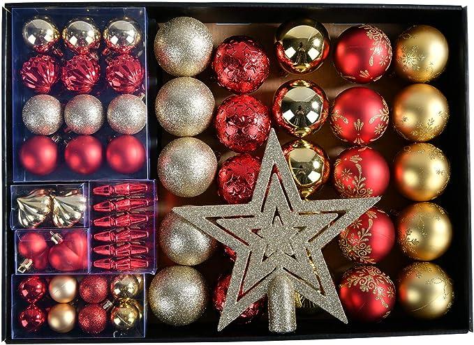 YILEEY Adornos de Navidad Decoracion Arboles de Navidad Bolas de Plastico, Dorado y Rojo, 68 Piezas en 14 Tipos, Caja de Bolas de Navidad de Plástico Inastillable con Percha, Adornos Decorativos: Amazon.es: