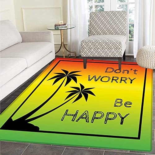 Rasta Dining Room Home Bedroom Carpet Floor Mat Dont Worry Be Happy Music Quote of Iconic Singer Palms Ombre Colors Non Slip Mat 5 x6 Lime Green Yellow Black