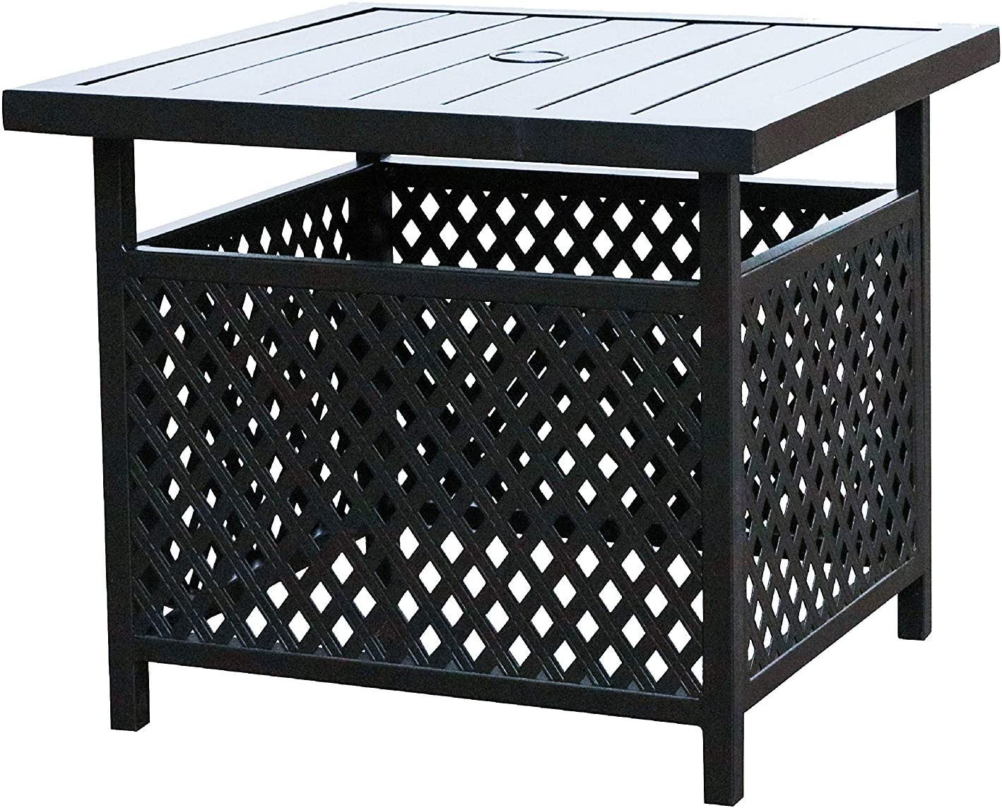LOKATSE HOME Patio Side Bistro Table Stand with Umbrella Hole Base Outdoor Garden Pool, 21.8(L) x 21.8(W) x 18.5(H) inch, Black