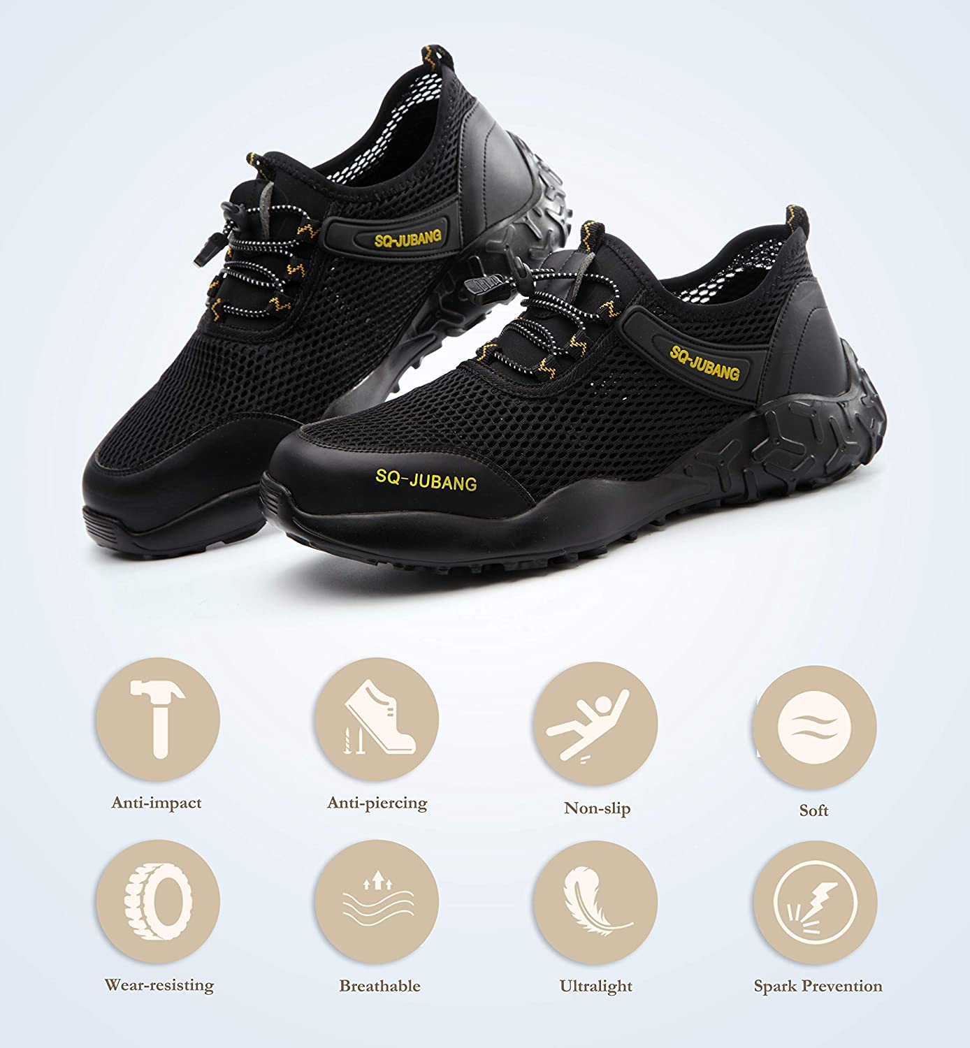 Nasogetch Safety Shoes for Men and Women Wok Shoes with Steel Toe Cap Saftey Sneakers