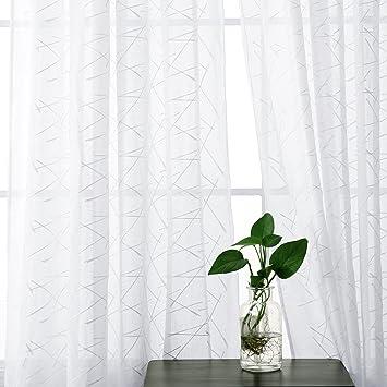 Deconovo Vorhang Ösenvorhang Transparent Gardinen Wohnzimmer Stickerei  183x140 cm Weiß Linie 2er Set