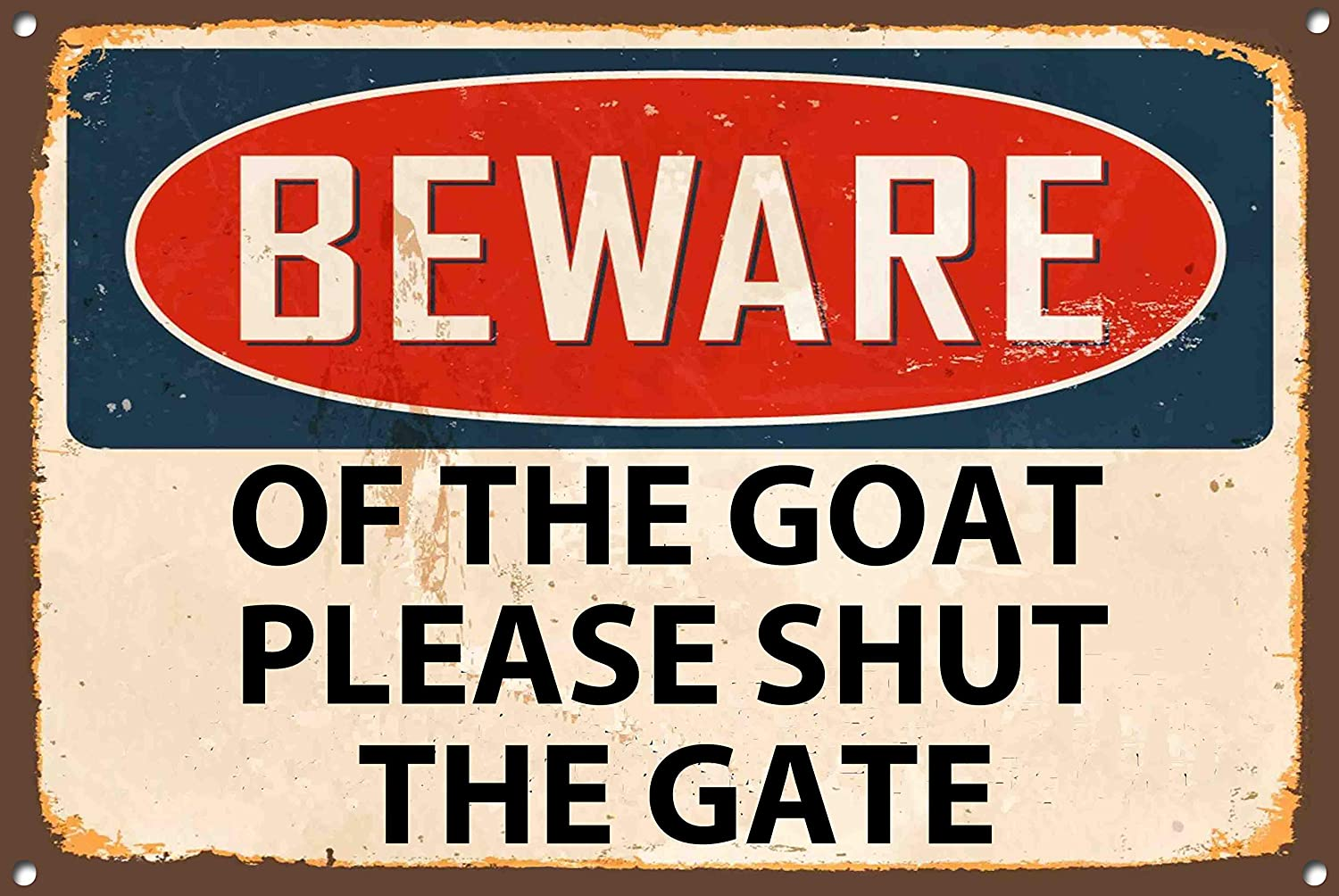 """Red /& Beige 8/"""" x 12/"""" Metal Wall Plaque 1232 Vintage Style Beware Of The Goat Please Shut The Gate Metal Sign"""