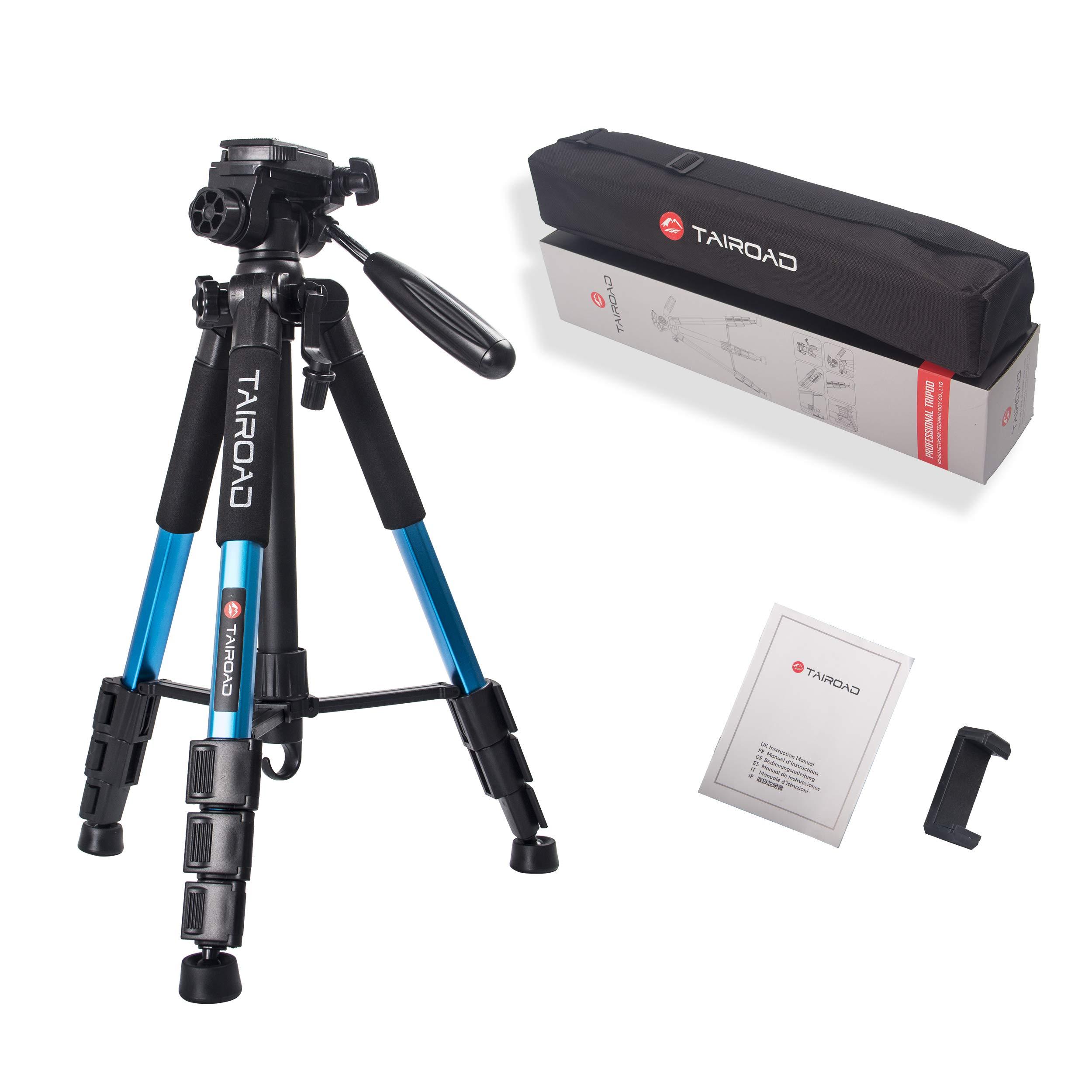 Kompaktes Stativ - Tairoad Tragbares, leichtes 140 cm-Stativ mit Handyclip und Schnellwechselplatte für Fotografie, Video und Live-Show - Blau