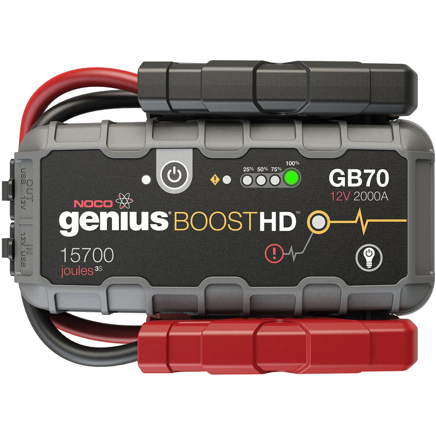 GB70 NOCO Boost HD 2000 Amp UltraSafe Lithium Jump Starter for 8L Gasoline and 6L Diesel Engines Extended Warranty