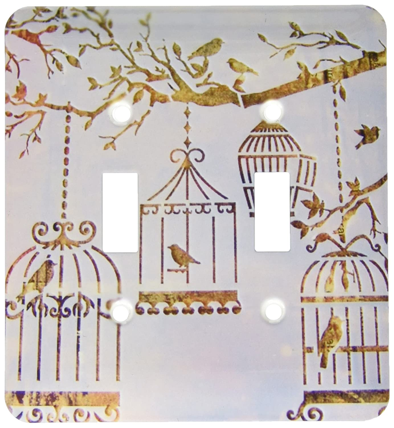3dRose lsp/_163069/_2 Image of Birds and Bird Cages in Fall Colors and Tree Branch Double Toggle Switch