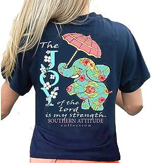 0bae2901a163 Southern Attitude Joy of The Lord is My Strength Elephant Short Sleeve Shirt  (Navy)