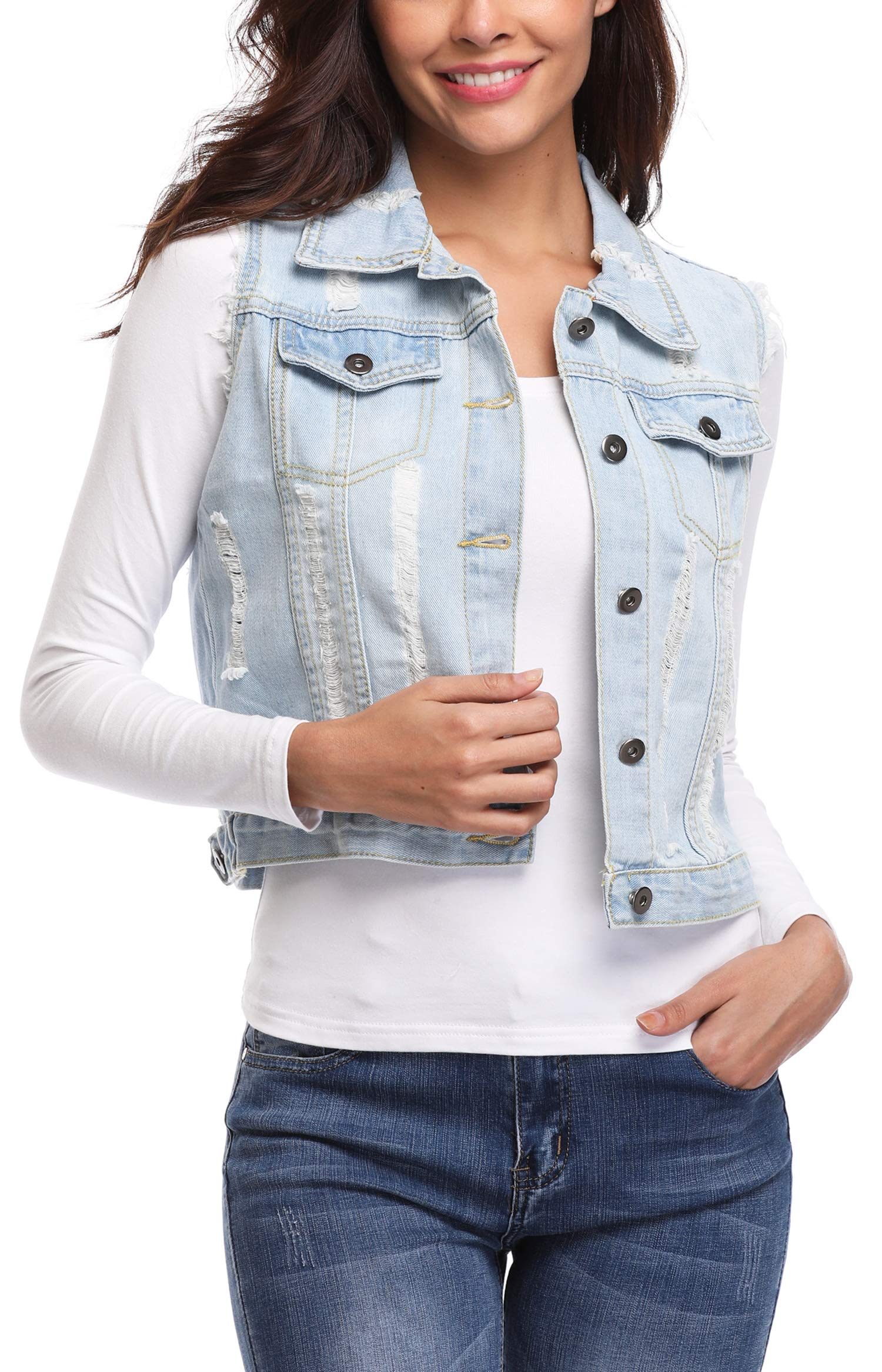 MISS MOLY Women's Sleeveless Denim Jacket Vest Turn Down Collar Buttoned Frayed Washed w 2 Chest Flap Pockets Light Blue XL by MISS MOLY (Image #5)
