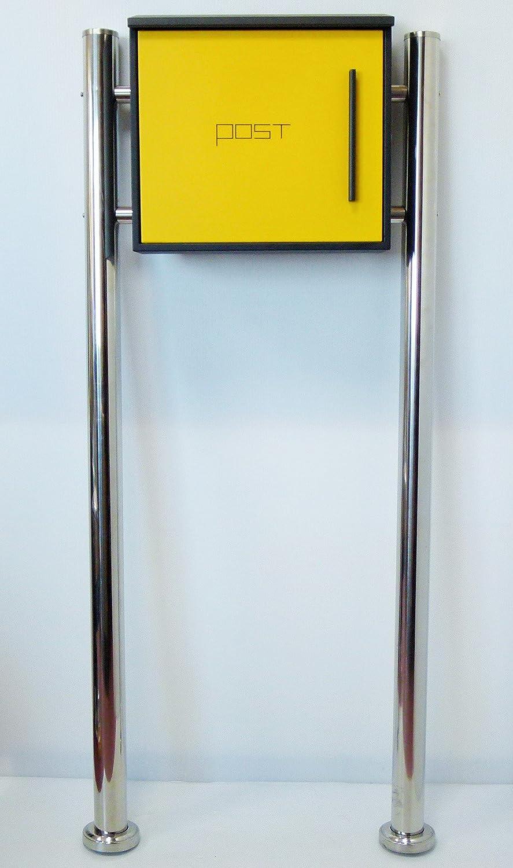 郵便ポスト郵便受け北欧風メールボックススタンド型マグネット付きイエロー黄色ポストpm205s B01MXMIXZW 18880