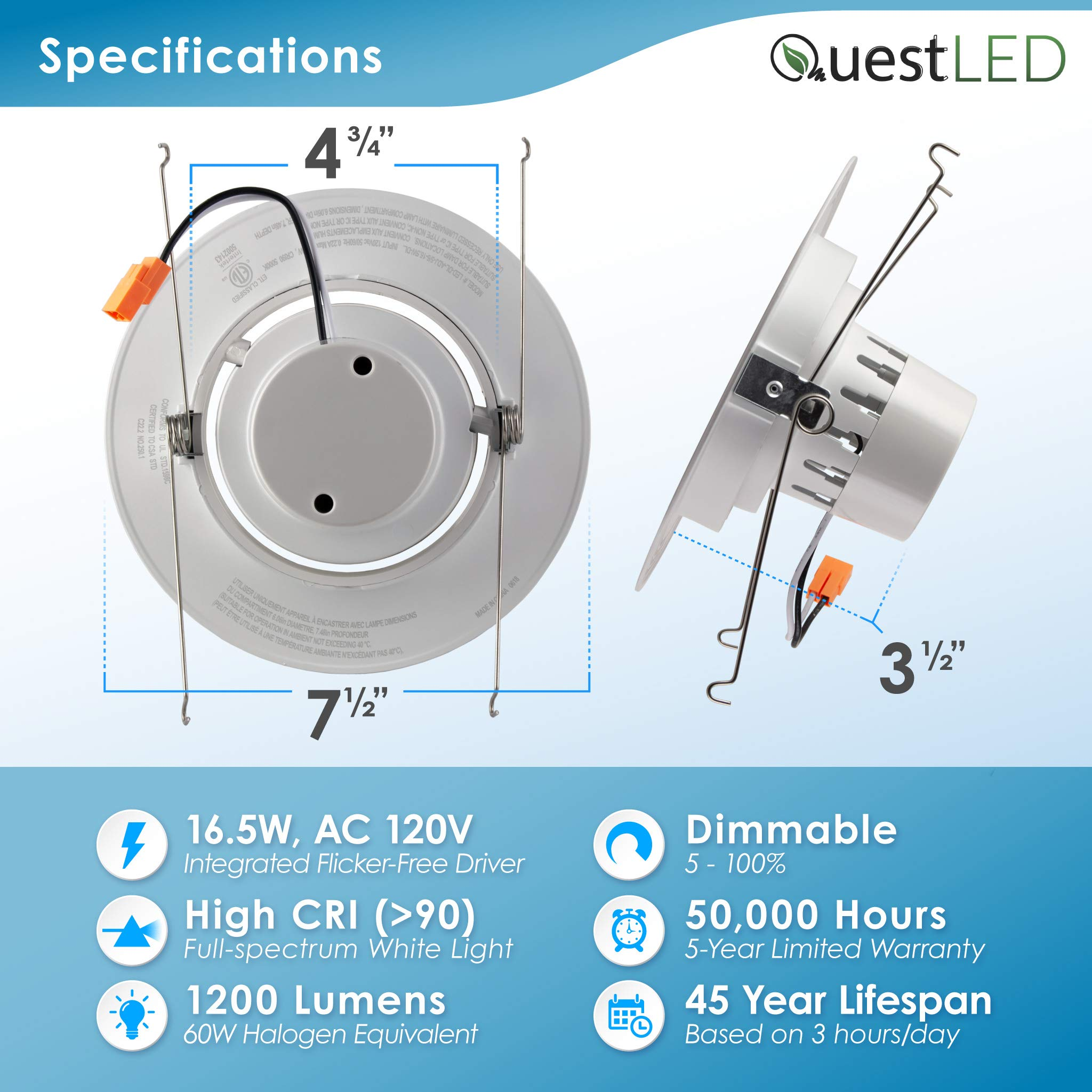 5/6'' inch LED Gimbal Adjustable Rotating Downlight White Trim 16.5W= (100w Equivalent) Damp Location Rated; 25,000 Life Hours; Dimmable to 5%; 5 YR Warranty; 1200 Lumens; Soft White 2700K- (16 Pack) by QUEST MANUFACTURING (Image #4)