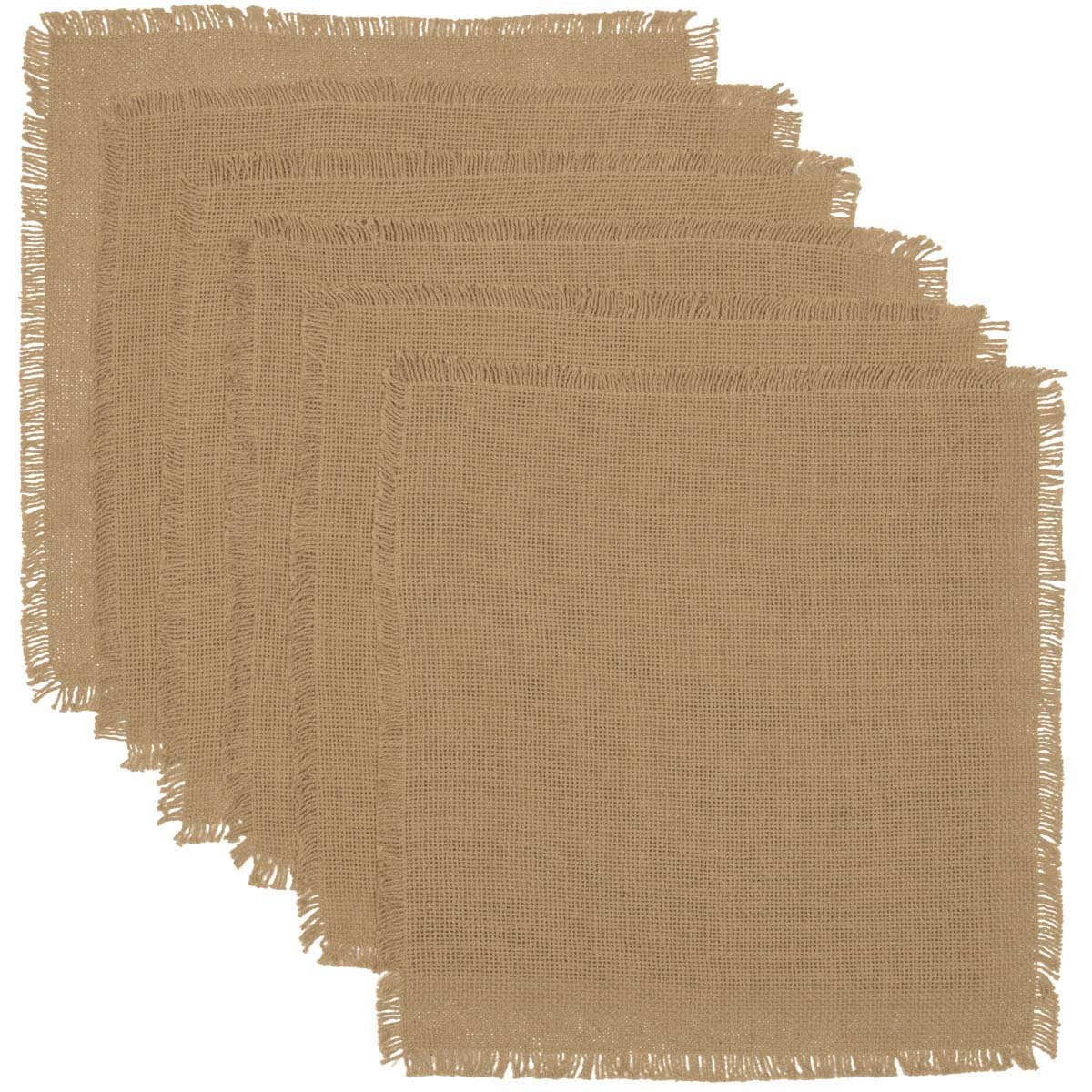 VHC Brands Classic Country Farmhouse Tabletop & Kitchen-Burlap Natural Tan Fringed Tablemat Set of 6, 13'' x 13''