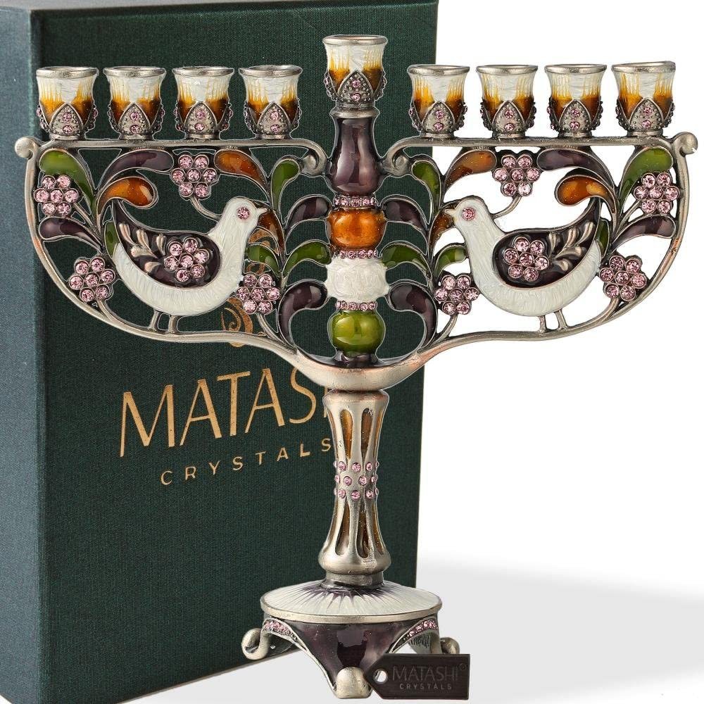 Matashi Hand Painted Enamel Menorah Candelabra Embellished with Gold Accents and Crystals (Doves)