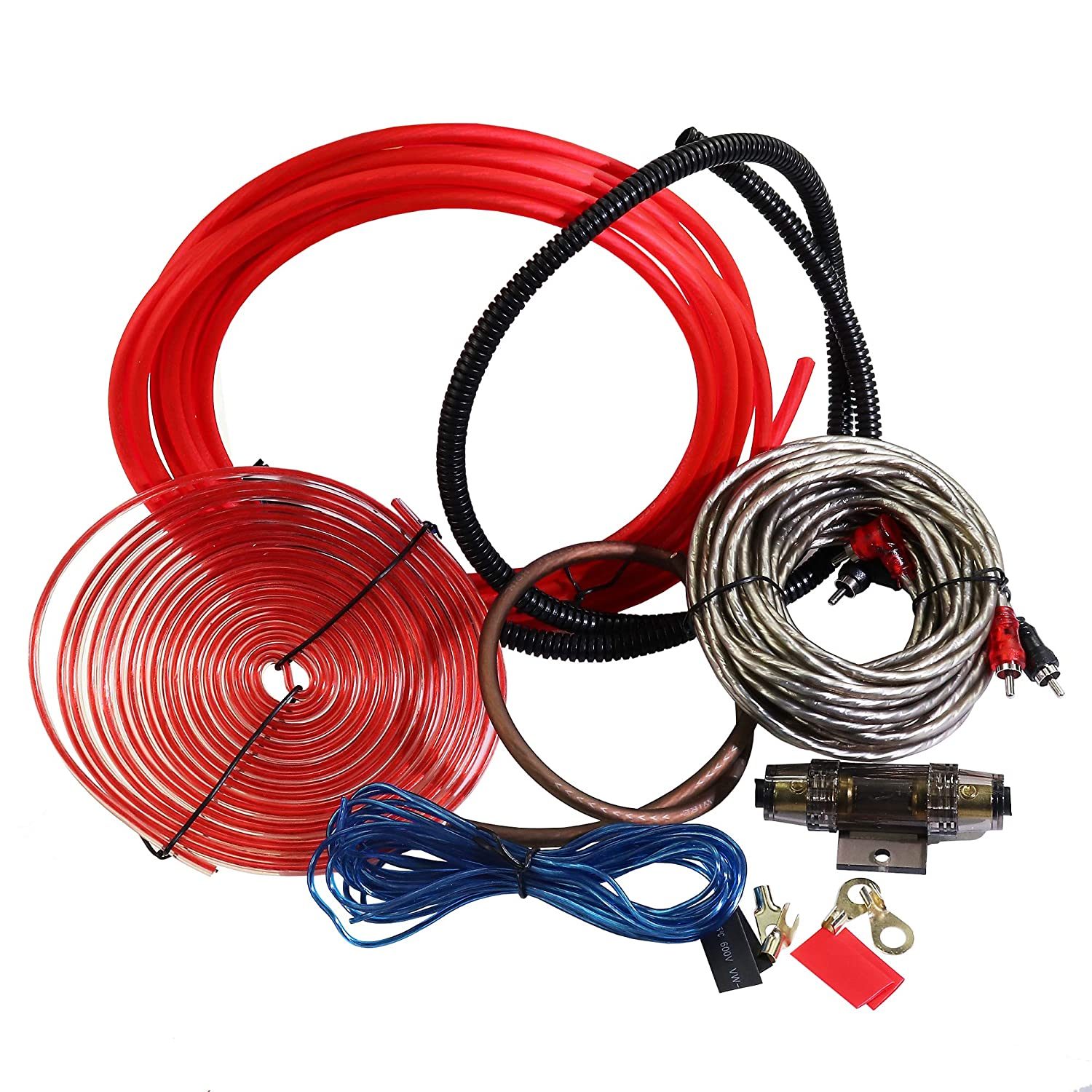 Welugnal Car Amplifier Wiring Kit Ground RCA Cable,Speaker Wire 8 Gauge Complete Amp Kit Amplifier Installation Wiring Wire Kit,Includes Power Remote Cable Split Loom Tubing and Fuse Holder